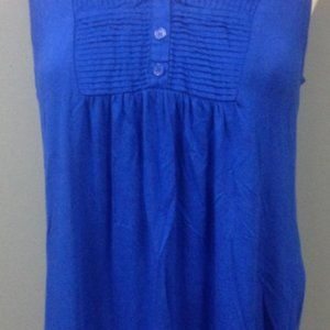 CABLE AND GAUGE BLUE SLEEVELESS BUTTON V NECK PLEA